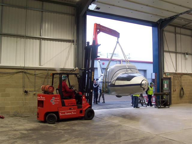 aircraft lift into storage